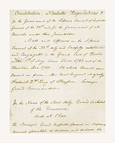 Grand Constitutions of 1786 in Rev. Frederick Dalcho's handwriting, ca. 1801-02