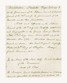 Grand Constitutions of 1786 in Rev. Frederick Dalcho's handwriting, ca. 1801-02