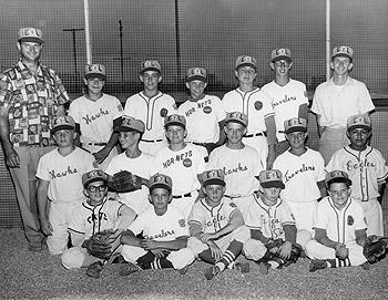 "William ""Bill"" Rainbolt, 33°, with the Little League all-star team"