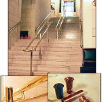 Center handrails added to the main staircase connecting Pillars of Charity to Banquet Hall