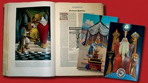 The Secret Teachings of All Ages: An Encyclopedic Outline of the Masonic, Hermetic, Qabbalistic & Rosicrucian Symbolical Philosophy, King Soloman Edition, by Manley P. Hall, Illustrations in color by J. Augustus Knapp, published in 1928.