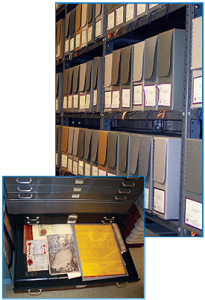 Archives of the Supreme Council, records in archive boxes and metal document drawers.