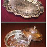Engraved tray (above) and silver candy dish (below), souvenirs of the 1959 and 1965 Sessions, respectively.