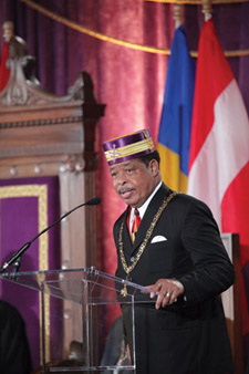 Sovereign Grand Commander Deary Vaughn, 33°, United Supreme Council, S.J., Prince Hall Affiliation, addresses attendees of the Monday Opening Session.