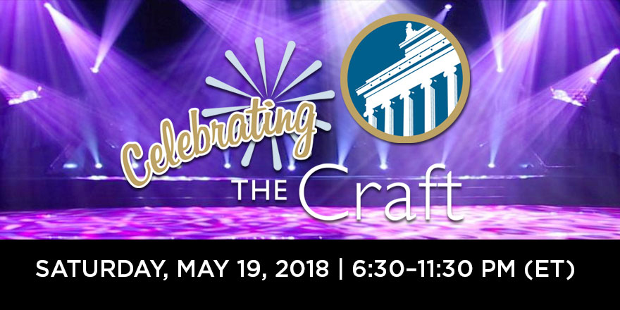 Celebrating the Craft logo - Saturday, May 19, 2018, 6:30–11:30 pm (ET)
