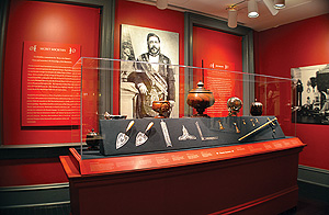 The Masonic exhibit, including a portrait of the King in full 33 - regalia.