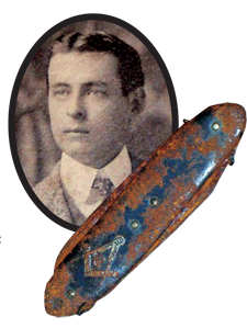Brother Oscar Scott Woody and his Masonic pocket knife
