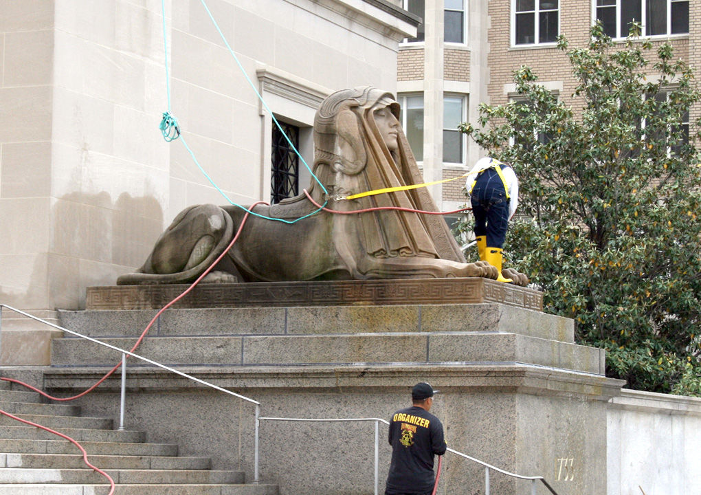 The sphinxes were cleaned as a part of the effort revealing the decorative features at the base.
