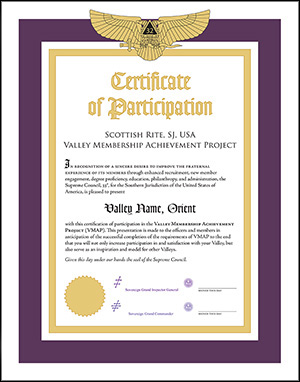 Certificate of Participation in the Valley Membership Achievement Project (VMAP)