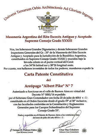 Patent of Albert Pike Areopagus, No. 7