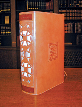 The two volumes of Processus Contra Templarios in their tan leather case