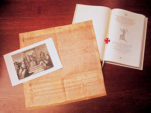 The English and Italian Translation showing its bookmark, the facsimile of the Chinon Parchment, and one of the engravings from the book