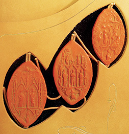 3 Seals from Templar book, center one is that of The wax seal of Cardinal Pierre de La Chapel, one of the three papal commissioners who examined the Templars