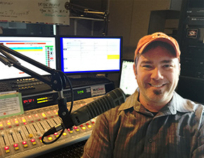 Maynard, host of the Tyler's Place podcast, in the recording studio