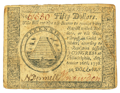 $50 note (Wikimedia Commons, File: Continental $50 note 1778.jpg)