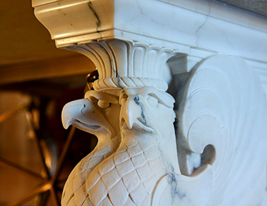 Detail of Eagles from Salve Frater table in House of the Temple Atrium