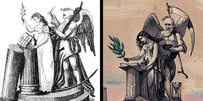Illustrations of Father Time unbraiding the hair of a weeping virgin as depicted (left) by Amos Doolittle in Jeremy Cross's The True Masonic Chart and (right) in Macoy's The Book of the Lodge.