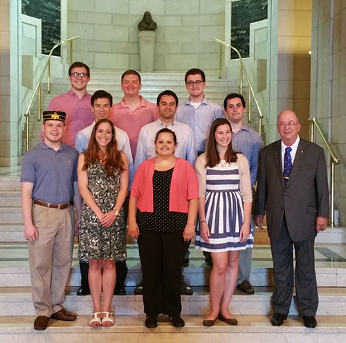 The (Summer) 2015 Washington Scholars with Mark Polansky (far right) of the Admiral James J. Carey Foundation and Alyssa Weiner, Planned Giving Coordinator for the Supreme Council, 33°, SJ, USA (front row, second from left)