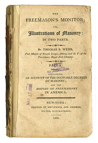 Title page of Freemasons' Monitor; or Illustrations of Masonry: In Two Parts