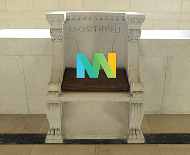 Tyler's Chair outside Temple Room with #MuseumWeek logo