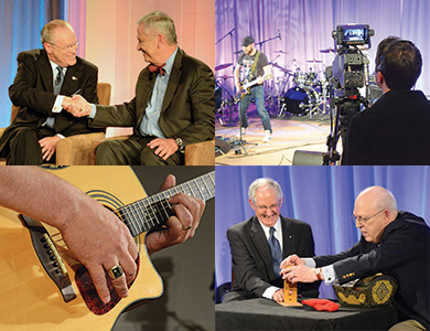 2016 Celebrating the Craft collage: (clockwise from top left) co-host Rusty Garrett, KCCH, shakes hands with Grand Commander Ronald A. Seale, 33°; cameraman records Fellowcraft band as they perform; William Brunk, 33, SGIG in North Carolina, participates in a magic trick with S. Brent Morris, 33°, GC; closeup of Scottish Rite Has Talent finalist playing guitar.