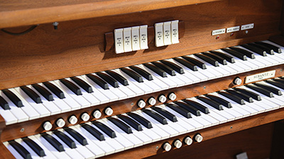 Close-up of the House of the Temple pipe organ's keyboard