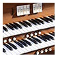 Detail of the House of the Temple pipe organ's keyboard