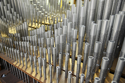 Detail of the House of the Temple organ's pipes in the organ chamber