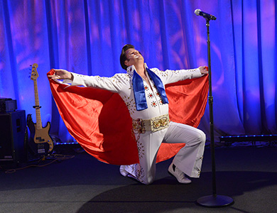 Bro. Frank Raines, KCCH, performs as Elvis during the 2016 Celebrating the Craft.