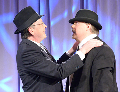 Bros. Lee E. Kielblock, KCCH, and Terrance M. Schaffer, 32°, from the Valley of Minneapolis, perform a comedy routine at the 2016 Celebrating the Craft.