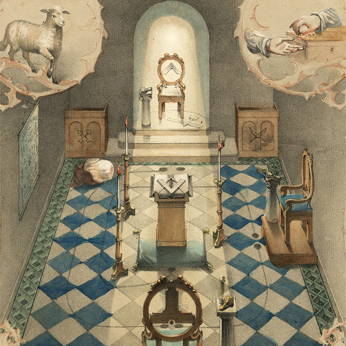 Lodge Room Illustration, a detail from Robert Macoy, The Book of the Lodge (1855)