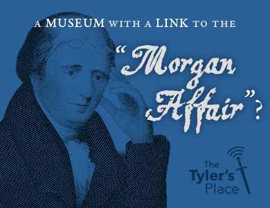 "Sketch of William Morgan with text ""A Museum with a Link to the Morgan Affair"""