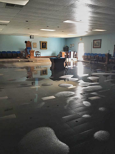 Lodge Room of Milford Valley No. 117 after historic flooding in Baton Rouge