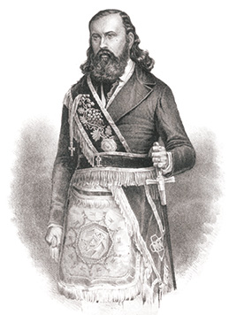 Drawing of Albert Pike in Scottish Rite regalia from the Archives of the Supreme Council, 33°, SJ, USA