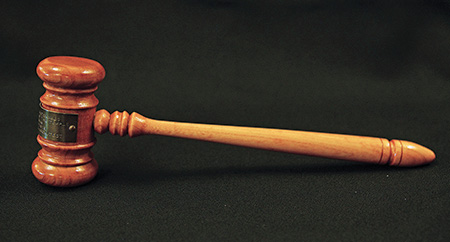 Gavel in the Cowles Collection made from materials taken from the House of the Temple's old Kimball organ