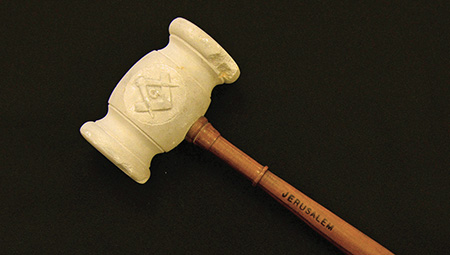 Gavel made from material taken out of the ancient subterranean quarry known as King Solomon's Quarries