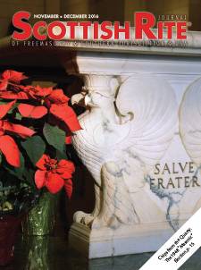 "The cover of the November-December 2016 Scottish Rite Journal features the marble ""Salve Frater"" table in the House of the Temple's Atrium with poinsettias."