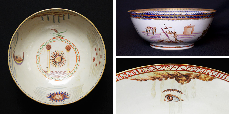 Collage of three different ceramic bowls donated by the estate of Ill. Claude Harris, 33°.