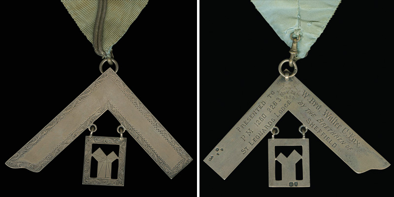 "Front and Back of Collar. English. Silk grosgrain, gold trim, and pewter. 1895. 2016.12.335 ""Presented to W. Bro. Walter C. Fox, P. M. 1260 2263 St. Leonard's Lodge by the Brethren of Sheffield, Nov. 28th 1895."" Credit: Archives of the Supreme Council, 33°, SJ, USA"