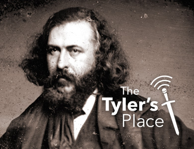 Detail of 1853 Photo of Albert Pike with Tyler's Place podcast logo