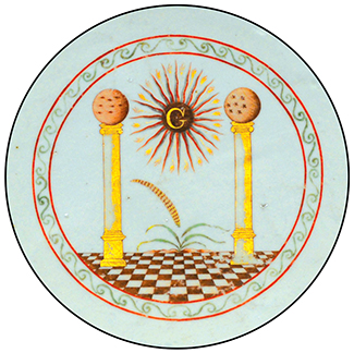 Detail from a Masonic ceramic bowl depicting the columns Jachin and Boaz