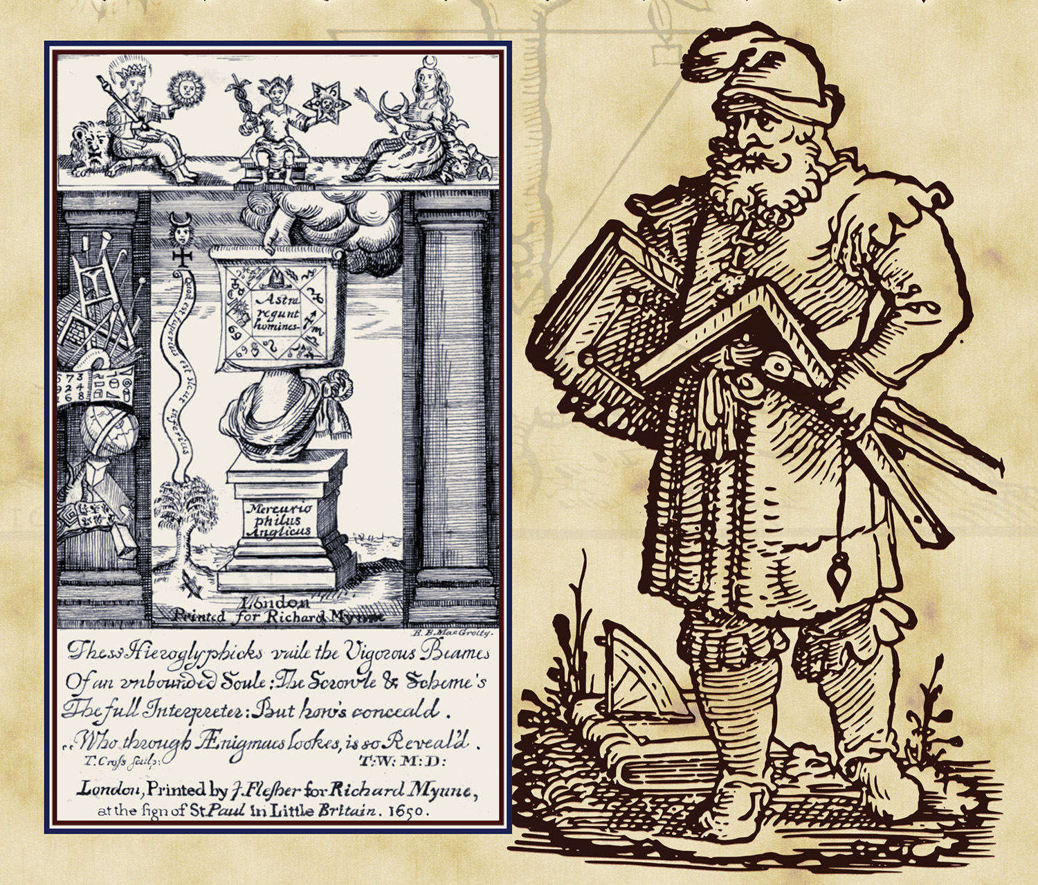 Detail of the front cover of the March/April 2017 Scottish Rite Journal. Left: Illustration by E. B. MacGrotty, 33°, from A. de Hoyos, Albert Pike's Esoterika (Washington, DC , 2008). Right from J. Stöffler, Künstlicher Abmessung aller Grösse (Frankfurt am Main, 1536)