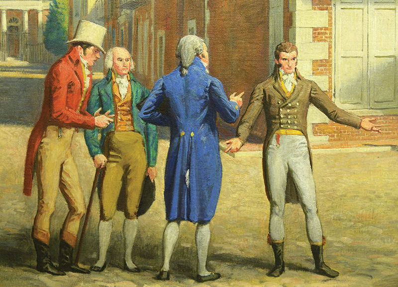 """This detail from """"Shepheard's Tavern, Charleston, SC, 1802"""" by Allyn Cox (1959) shows four of the founders of the Mother Supreme Council. Rabbi Abraham Alexander is second from left."""