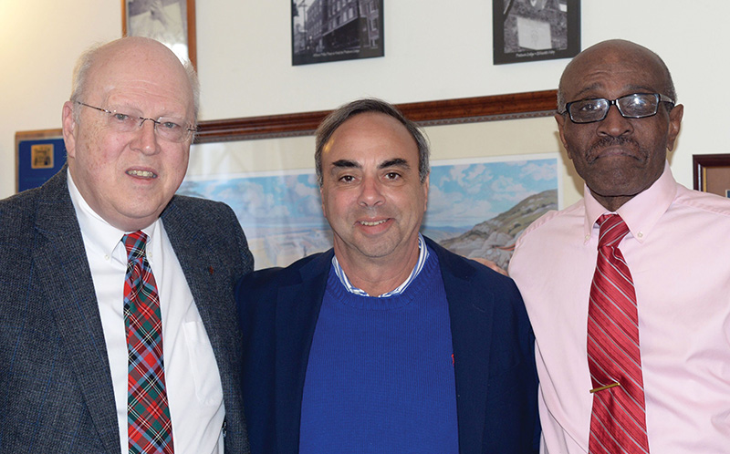 Authors of this article S. Brent Morris, 33°, Grand Cross (left) and Gregory S. Kearse, 33° (right) with Jimmy Turner (center)