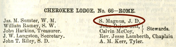 "Detail of of the 1855 ""Annual Communication"" of the Grand Lodge of Georgia listing ""S. Magnus"" as the Junior Deacon of Cherokee Lodge No. 66 in Rome, GA"