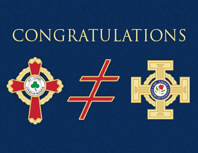 Congratulations with emblems of the: 32°, KCCH; 33°, IGH; and 33°, Grand Cross