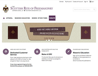 Front Page of Scottish Rite Online Store