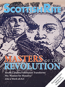 "Masters of the Revolution mural detail featuring Bro. George Washington—Masters of the Revolution: South Carolina Freemason Transforms His ""Passion for Masonry"" into a Work of Art"