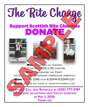 """""""The Rite Change"""" collection jar sticker marked with """"Sample"""""""