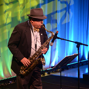 Bro. Pete Johnson, Jr. performs on his saxophone during the 2017 Celebrating the Craft.